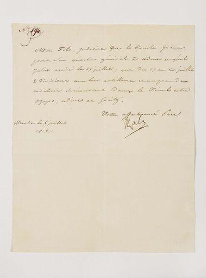 NAPOLÉON Ier. Lettre signée « Napole » au...