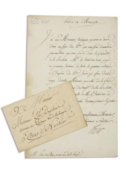 NECKER ( Jacques). Lettre signée en qualité...