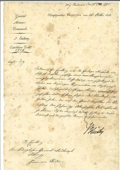 BLÜCHER (Gebhard Leberecht von). Lettre signée...