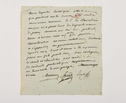 CARRIER ( Jean-Baptiste). Pièce autographe...