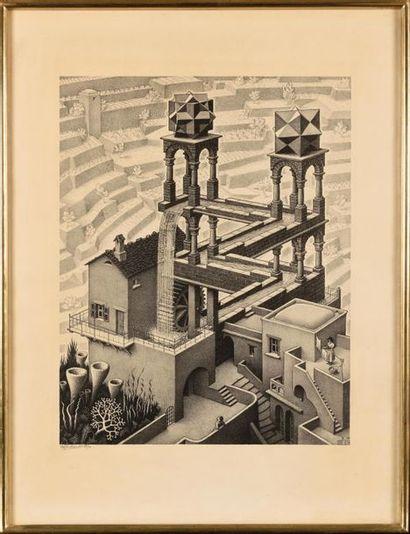 MAURITS CORNELIS ESCHER (1898-1972) Waterfall, 1961. Lithographie sur simili Japon...