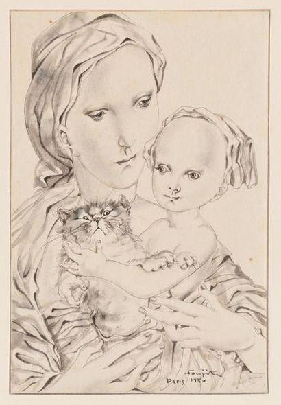 TSUGUHARU FOUJITA (1886-1968) Femme à l'enfant...
