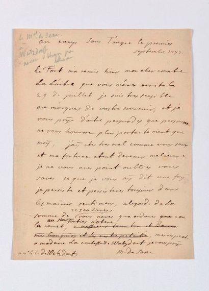SAXE (Maurice de). Lettre autographe signée...