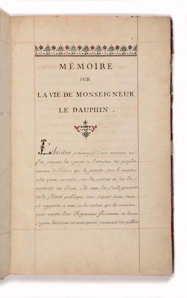 MANUSCRIT] - Mémoire sur la vie de Monseigneur...