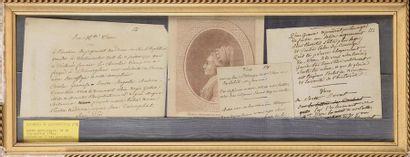 Cadre contenant trois manuscrits et une gravure...