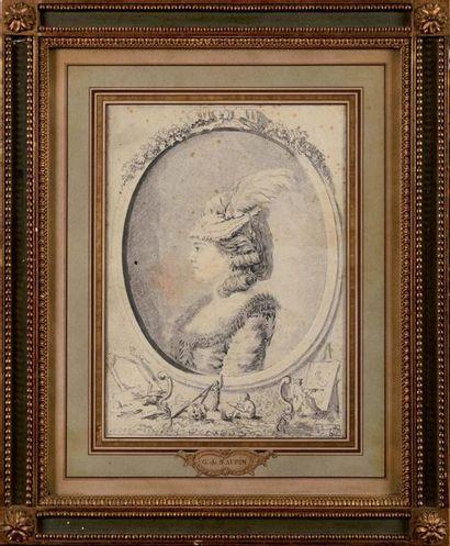 Gabriel de SAINT-AUBIN (1724-1780) Portrait...