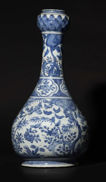 China Exceptional large porcelain bottle vase with long narrow neck ending with...