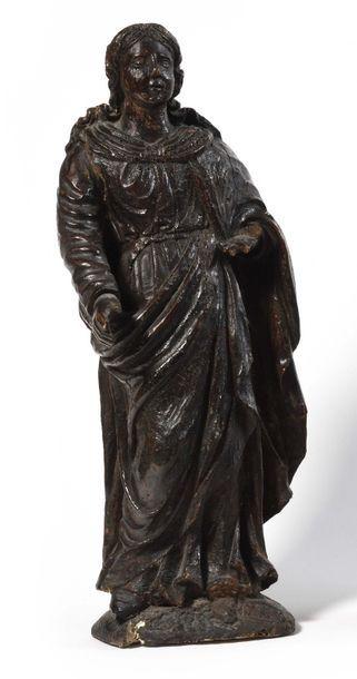 Sainte Femme en bois sculpté, dos ébauché....