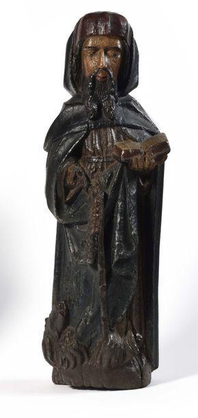 Saint Antoine en bois sculpté en ronde-bosse...
