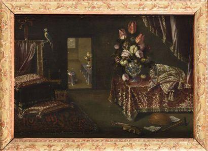 Attribué à SALV***(Actif à la fin du XVIIe siècle) Intérieur aux tapis et aux violons...