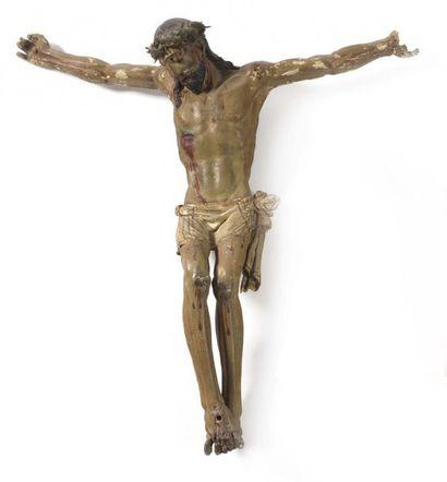 Christ en bois sculpté et polychromé. Tête...