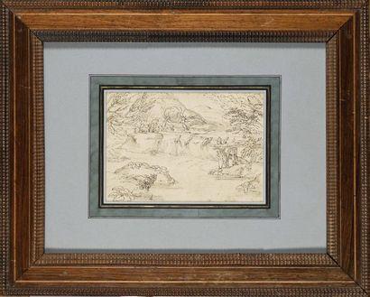 Attribué à Giovanni Francesco GRIMALDI (1606-1680) Paysage Plume et encre brune...