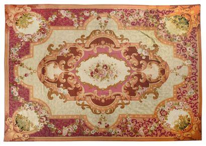 Important tapis d'Aubusson ( France ) Technique...
