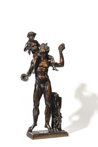 Groupe en bronze à patine brune représentant...