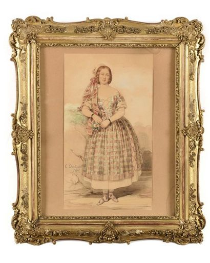 Charles DOUSSAULT (1806-1880) Jeune femme...