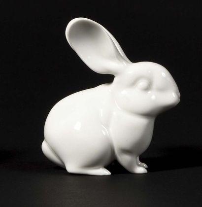 SAXE Petit lapin en porcelaine blanche de...