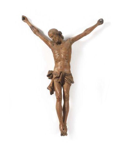 Christ en bois de résineux sculpté. Tête...