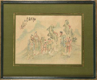 Chine Peinture sur soie représentant le calligraphe...