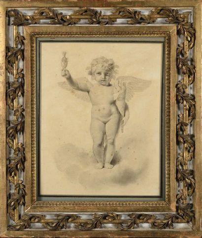 Ecole française du XIXe siècle Etude d'anges...
