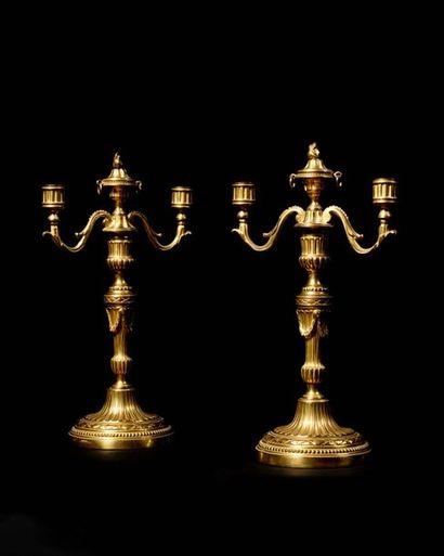 Paire de bougeoirs formant candélabres en...
