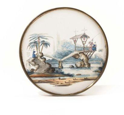Boite de forme ronde en verre et décor sous-verre...