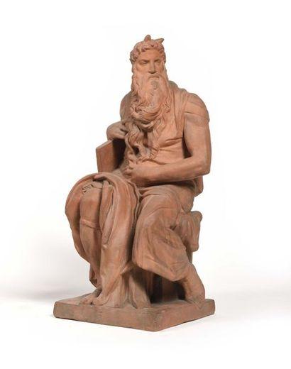 Figure de Moïse en terre cuite, avec un monogramme...