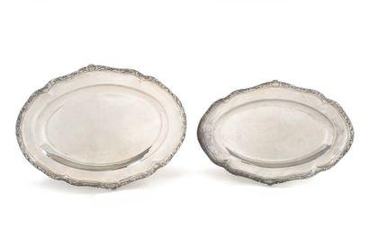 Deux plats ovales en argent uni 950 millièmes,...