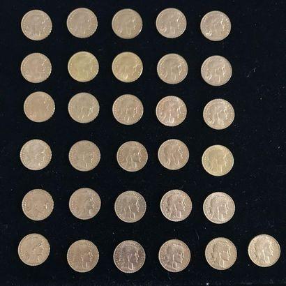 FRANCE 31 pièces 20 Francs or, Marianne....