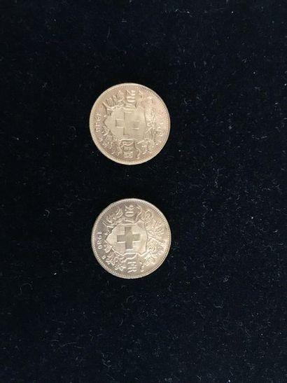 SUISSE 2 pièces 20 francs or 1930-1935 Poids total : 12,9 g