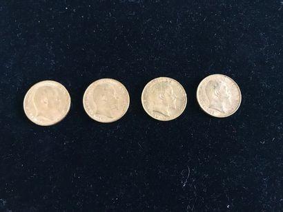 GRANDE-BRETAGNE 4 pièces en or Edouard VII...