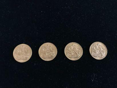 GRANDE-BRETAGNE 4 pièces en or Edouard VII 1905-1908-1909 Poids total : 31,9 g