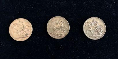 GRANDE-BRETAGNE 3 pièces en or Reine Victoria jeune Poids total : 23,8 g