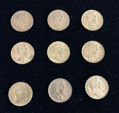 FRANCE 9 pièces or 20 francs or, Napoléon...