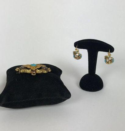 Ensemble de BIJOUX en or comprenant : -3 bagues ornées de pierres et perles fines...