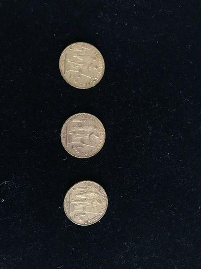 FRANCE 3 pièces de 20 francs or, génie de...
