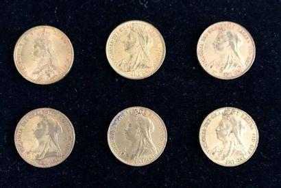 GRANDE-BRETAGNE 6 pièces en or Reine Victoria...