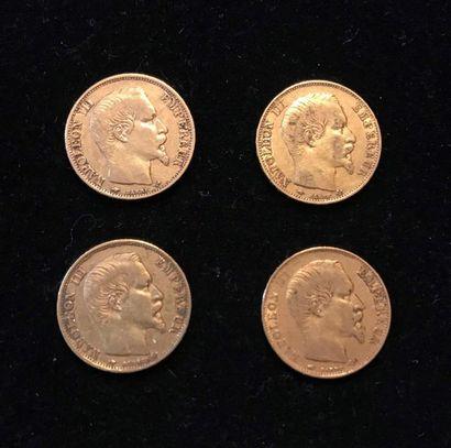 FRANCE 4 pièces 20 francs or Napoélon III tête nue Poids : 25,6 g
