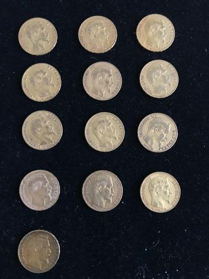 FRANCE 13 pièces 20 francs or, Louis-Napoléon...