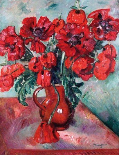 HENRI MANGUIN (1874-1949) Grand vase de pavots,...