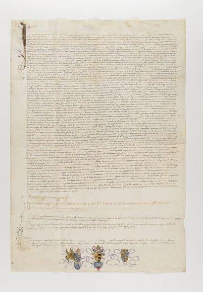 ALEXANDRE VI.  Pièce signée, « Alexander papa VI manu propria subscripsi », contresignée...