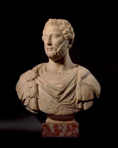Buste en marbre blanc représentant probablement...