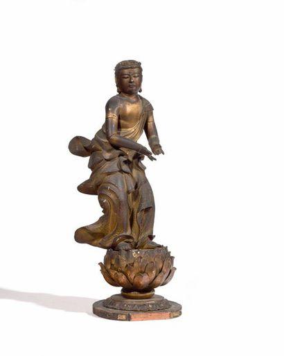 JAPON Figure du Panthéon Boudhiste en bois...