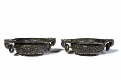 CHINE Très belle paire de coupes en jade...