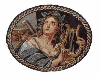 Grande plaque ovale en mosaïque polychrome...