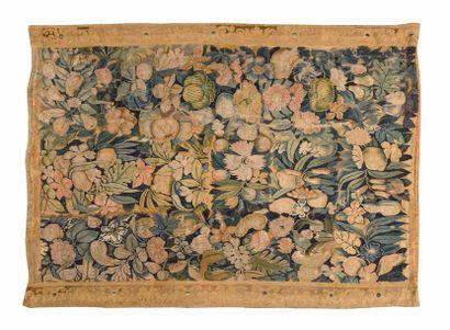 Original panneau de tapisserie d'Audenarde (Flandres), vers 1550. En laine et soie...