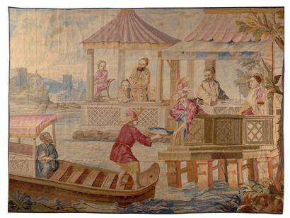 Très rare et beau panneau de tapisserie de...