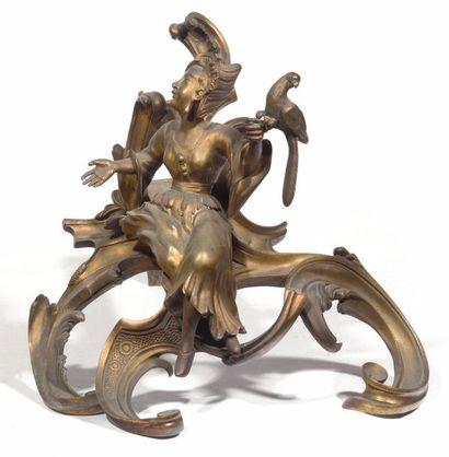 Paire de chenets aux chinois en bronze doré,...