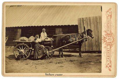 [DES CHEVAUX RUSSES]  CARRICK William (1827–1878)  Les voitures russes. Quatre photographies...