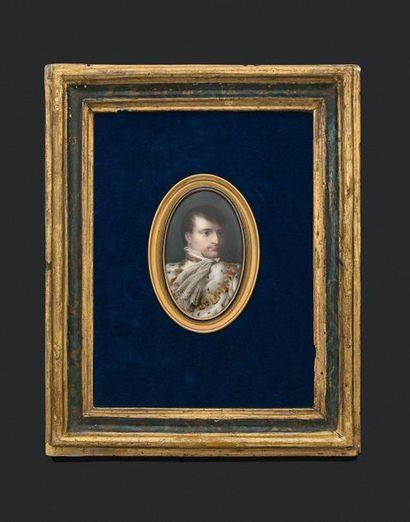 Jean-Baptiste ISABEY (1767-1855). L'Empereur Napoléon Ier en habit de sacre. Miniature...