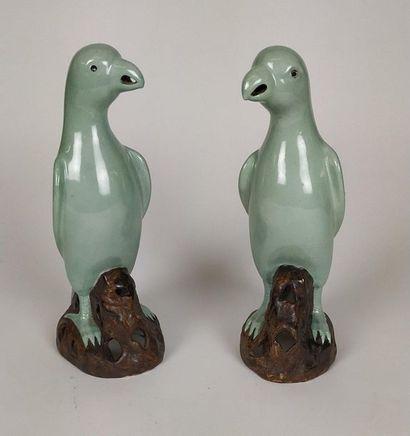 CHINE Paire de perroquets en porcelaine polychrome...